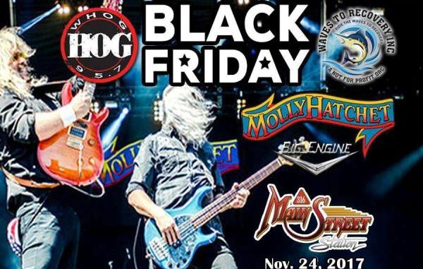 Molly Hatchet Black Friday Concert to benefit not for profit Waves to Recovery Organization that helps PTSD Victims